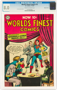 World's Finest Comics #73 Mohawk Valley Pedigree (DC, 1954) CGC VF 8.0 Cream to off-white pages