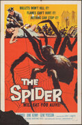 "Movie Posters:Horror, The Spider (American International, 1958). Folded, Fine. One Sheet (27"" X 41"") & Lobby Cards (3) (11"" x 14""). Horror.. ... (Total: 4 Items)"