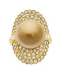Estate Jewelry:Rings, South Sea Cultured Pearl, Diamond, Gold Ring . ...