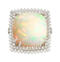 Estate Jewelry:Rings, Opal, Diamond, White Gold Ring . ...