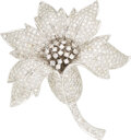 Estate Jewelry:Brooches - Pins, Diamond, White Gold Brooch The flower brooch ...