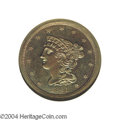 Proof Braided Hair Half Cents: , 1841 1/2 C Original PR65 Brown NGC. B-1, R.6. Die State ...