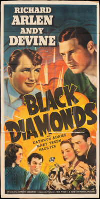 "Black Diamonds (Universal, 1940). Very Good on Kraft Paper. Trimmed Three Sheet (40"" X 80""). Crime"