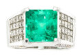 Estate Jewelry:Rings, Colombian Emerald, Diamond, White Gold Ring T...