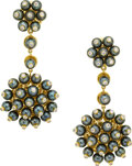 Estate Jewelry:Earrings, Diamond, Cultured Pearl, Gold Earrings, Aletto Brothers. ...