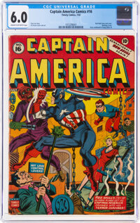 Captain America Comics #16 (Timely, 1942) CGC FN 6.0 Cream to off-white pages