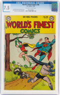 Golden Age (1938-1955):Superhero, World's Finest Comics #68 (DC, 1954) CGC VF- 7.5 Off-white to white pages....