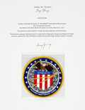 Explorers:Space Exploration, Apollo 16 Flown Embroidered AB Emblem Mission Insignia Crew Patch Directly from the John W. Young Collection, with Letter of C...