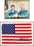 Explorers:Space Exploration, Gemini 11 Crew-Signed Flown Large American Flag with Crew-Signed Color Photo, in Matted Presentation. ...