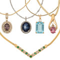 Estate Jewelry:Necklaces, Diamond, Multi-Stone, Gold Necklaces The lot i...