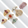 Estate Jewelry:Rings, Diamond, Multi-Stone, Gold Rings. ... (Total: 7 Items)
