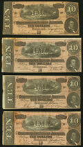Confederate Notes:1864 Issues, T68 $10 1864 Four Examples Fine or Better. ... (Total: 4 notes)