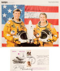 Explorers:Space Exploration, Space Shuttle Columbia (STS-2): Crew-Signed Orange Spacesuit Color Photo [and] Orbiter OV-10...