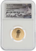 Explorers:Space Exploration, Apollo 11 50th Anniversary Commemorative 2019W U.S. Gold $5 Coin, NGC PF69 Ultra Cameo, Limited Edition Signed by Michael Coll...
