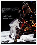 Explorers:Space Exploration, Charlie Duke Signed and Annotated Apollo 11 Aldrin's First...