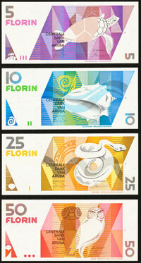 Aruba Centrale Bank 5; 10; 25; 50 Florin 1990 Pick 6; 7; 8; 9 Four Examples Crisp Uncirculated