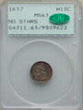 Seated Half Dimes, 1837 H10C No Stars, Large Date (Curl Top 1) MS63 PCGS. CAC. PCGS Population: (142/260). NGC Census: (128/434). CDN: $750 Wh...