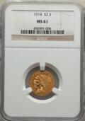 Indian Quarter Eagles: , 1914 $2 1/2 MS61 NGC. NGC Census: (1988/3678). PCGS Population: (482/2365). CDN: $500 Whsle. Bid for NGC/PCGS MS61. Mintage...