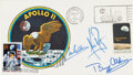 """Explorers:Space Exploration, Apollo 11 Crew-Signed """"Type Three"""" Insurance Cover with Mission Insignia Cachet, also Cancelled on 25th Anniversary. ..."""
