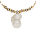 Estate Jewelry:Necklaces, Diamond, Freshwater Cultured Pearl, Gold Necklace. ...