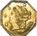 California Fractional Gold , 1871 25C Liberty Octagonal 25 Cents, BG-718A, High R.7, MS66 PCGS....