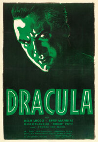 "Dracula (Universal, R-1938). Very Fine- on Linen. One Sheet (27"" X 41"")"