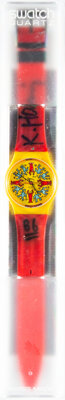 Keith Haring X Swatch Modele Avec Personnages GZ100, 1985 Wrist watch 9 x 1-1/2 inches (22.9 x 3