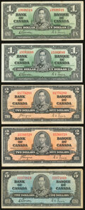 Bank of Canada 1937 Group of 9 Examples Very Fine. ... (Total: 9)