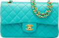 Luxury Accessories:Bags, Chanel Vintage Turquoise Quilted Lambskin Leather Small Do...