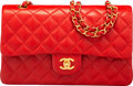 """Luxury Accessories:Bags, Chanel Vintage Red Lambskin Leather Medium Double Flap Bag with Gold Hardware. Condition: 3. 10"""" Width x 6"""" Height x 2..."""