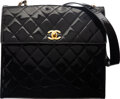 """Luxury Accessories:Bags, Chanel Black Quilted Patent Leather Flap Top Shoulder Bag. Condition: 2. 12"""" Width x 10.5"""" Height x 4.5"""" Depth. ..."""