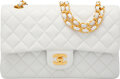 "Luxury Accessories:Bags, Chanel Vintage White Lambskin Leather Medium Double Flap Bag with Gold Hardware. Condition: 3. 10"" Width x 6"" Height x..."