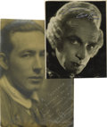 """Movie/TV Memorabilia:Autographs and Signed Items, Conrad Veidt and Paul Ivano Signed Portraits. Horror aficionadoswill certainly appreciate this lot, which includes 1.) a 7""""..."""