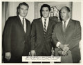 """Music Memorabilia:Autographs and Signed Items, Elvis, Vernon, and Colonel Parker Photo, Signed by Parker. Ab&w 14"""" x 11"""" photo of Elvis Presley, his father Vernon, andCo..."""
