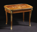 Furniture: French, A Louis XVI Style Marquetry Inlaid Low Table. Unknown maker,French. Late Nineteenth Century. Various woods, bronze. Unmar...