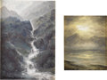 Fine Art - Painting, American:Contemporary   (1950 to present)  , NORMAN LOWELL. Pair of paintings: Valdez Falls andSunset, 1987. Oil on masonite. Each signed to lower left,labeled... (Total: 2 )