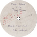 "Music Memorabilia:Recordings, Eddie Cochran ""Perry Como Radio Show"" Acetate (APR H-63, 1960). The label for this acetate is dated March 23, 1960, just 17 ..."
