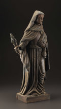 Latin American:pre-20th Century, A Spanish Colonial Carved Wooden Santos. Mexico. 19th Century