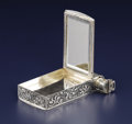 Silver Smalls:Other , A Continental Silver Compact. Unknown maker, European. Circa1900-1920. Silver, glass, metal. Marks: 800. 4.75 inches...