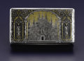 Silver Smalls:Snuff Boxes, A French Silver and Niello Snuff Box. Unknown maker, Paris, France.Circa 1848-1870. Silver, silver gilt and niello. Marks...