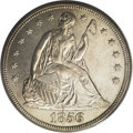 Seated Dollars: , 1856 $1 MS62 PCGS. While this issue's mintage of 63,500 piecesappears substantial for its ti...