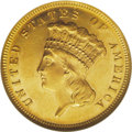 Three Dollar Gold Pieces: , 1868 $3 MS62 Prooflike NGC. Reflective prooflike fields provide astrong contrast with the mildly frosted motifs. Rich peac...