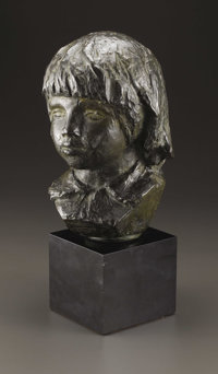 A Bronze Head of Coco  Pierre-Auguste Renoir (1841-1919), French Modeled 1908; cast by 1949 Bronze with green patina