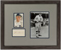 Autographs:Index Cards, Heinie Manush Framed Cut Signature Display. Offere...