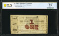 Obsoletes By State:Louisiana, Thibodaux, LA- Corporation of the Town of Thibodaux $1 Oct. 1, 1862 PCGS Banknote Very Fine 25 Details.. ...