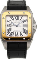 """Timepieces:Wristwatch, Cartier, """"Santos 100"""" Steel And Gold Automatic, Ref. 2625,..."""