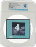 Explorers:Space Exploration, Apollo 11 Original NASA Glass Film Slide, a View of Buzz Aldrin Carrying the EASEP Package, Directly From The Armstrong Fa...