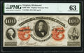 Obsoletes By State:Virginia, Richmond, VA- Virginia Treasury Note $100 Oct. 15, 1862 Cr. 6A PMG Choice Uncirculated 63.. ...