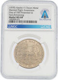 Explorers:Space Exploration, Apollo 11: Manned Flight Awareness Medal MS68 NGC, One of ...