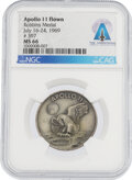 Explorers:Space Exploration, Apollo 11 Flown MS66 NGC Sterling Silver Robbins Medallion, Serial Number 397, Directly From The Armstrong Family Collection™,...